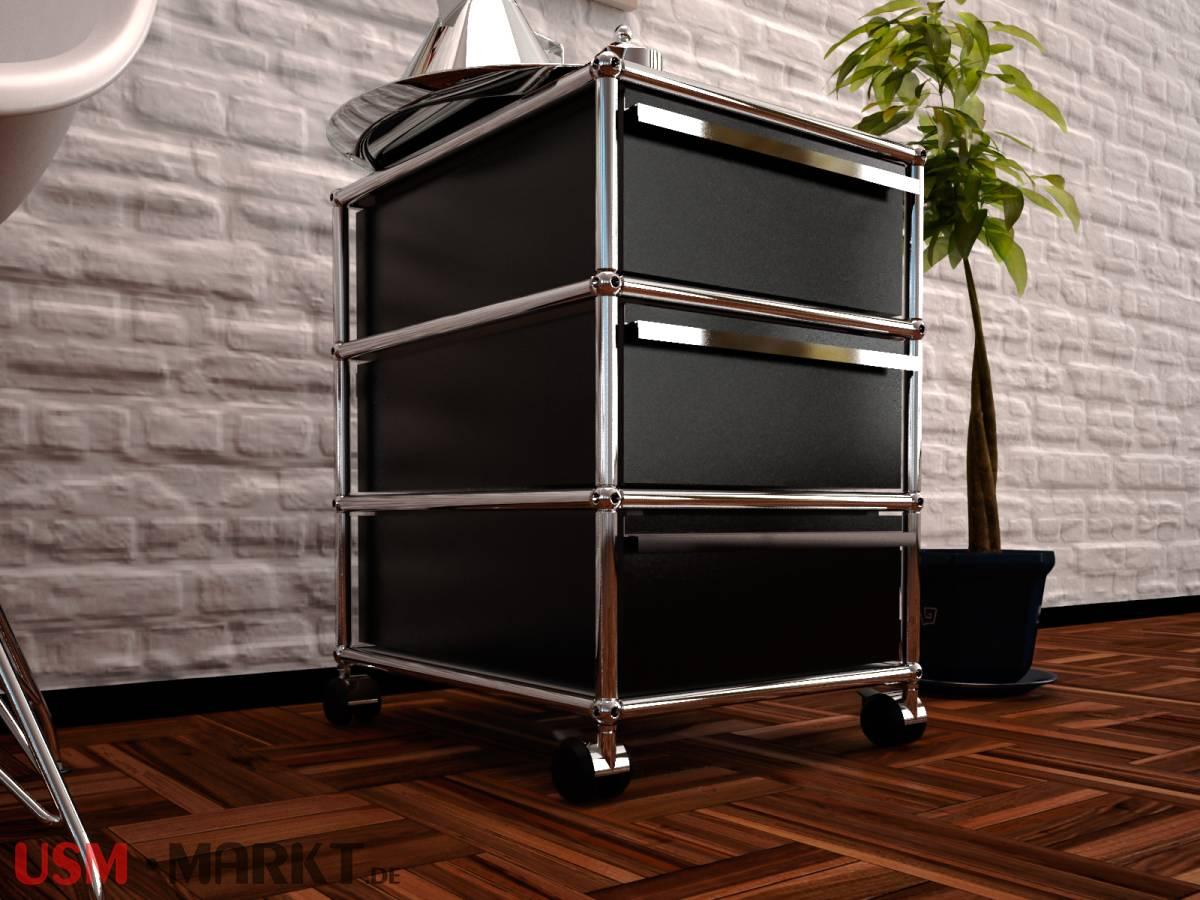 usm haller rollcontainer graphitschwarz mit 3 schubladen din a6 usm markt. Black Bedroom Furniture Sets. Home Design Ideas