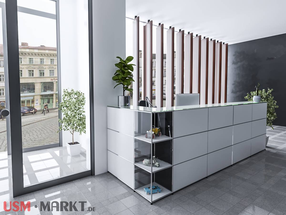 usm haller theke reinweiss f r den empfang usm markt. Black Bedroom Furniture Sets. Home Design Ideas